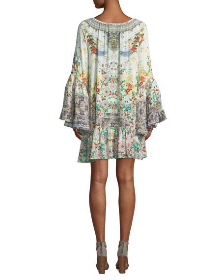 Scoop-Neck A-Line Printed Frill Mini Dress