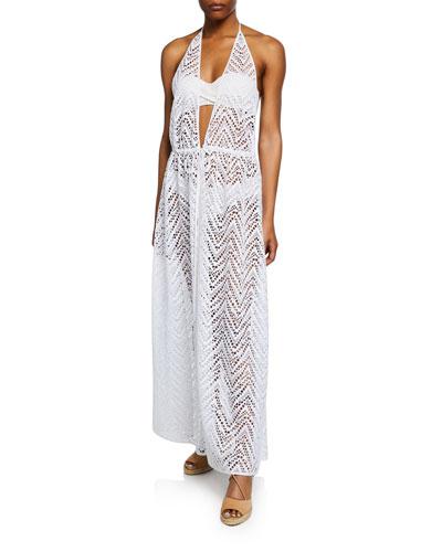 Katrina Plunging Halter Coverup Maxi Dress