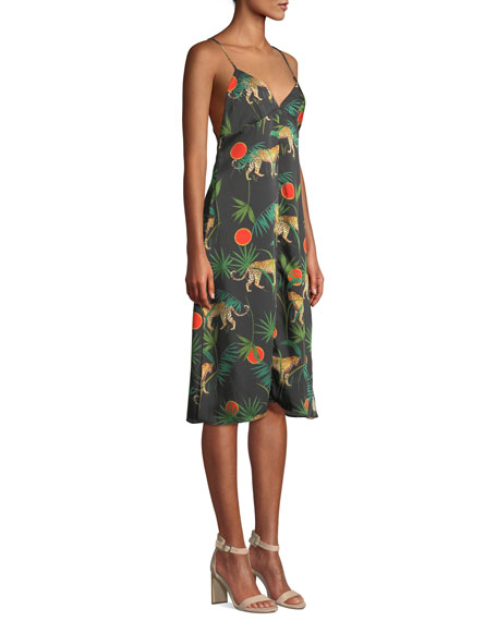 Jungle-Print Cross-Back Sleeveless Twill Dress