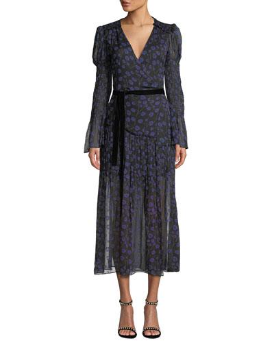 Ani Floral-Print Smocked Silk Wrap Dress