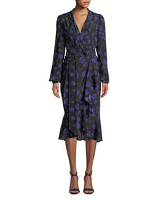2631e0475f Diane von Furstenberg Carla Floral-Print Long-Sleeve Wrap Dress