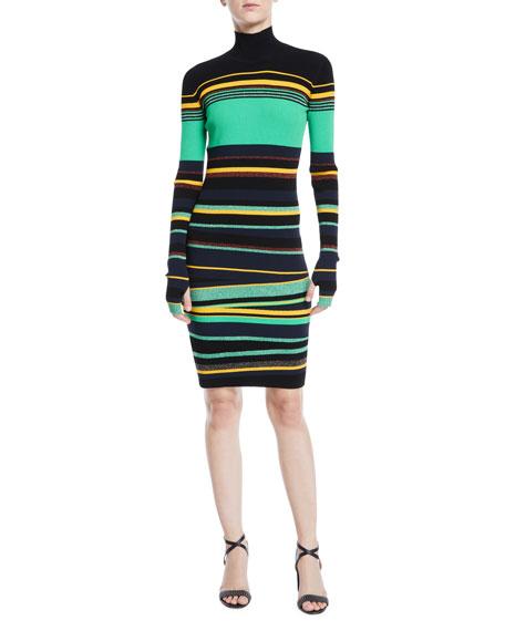 Finn Striped Metallic Long Sleeve Turtleneck Dress by Diane Von Furstenberg