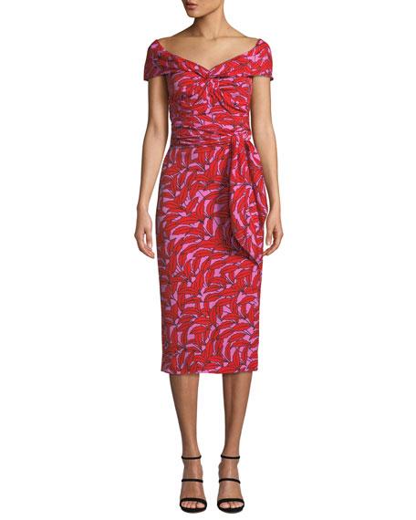 e60a651a88c Diane von Furstenberg Delphine Printed Off-Shoulder Cocktail Dress