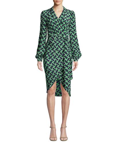 Carla Printed Long-Sleeve Wrap Dress
