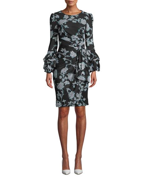 Diane von Furstenberg Faridah Printed Tie-Front Tucked-Sleeve