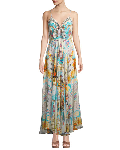 Camilla Printed Embellished Tie-Front Long Dress