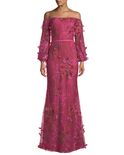 Off-the-Shoulder Bishop-Sleeve 3D Floral-Embroidered Gown