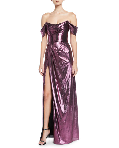 Off-the-Shoulder Metallic Lame Draped Gown