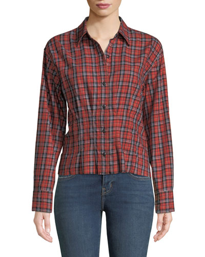 The Tella Structured Plaid Button-Front Shirt