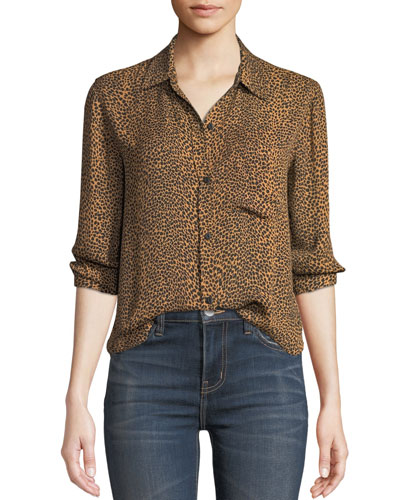 The Derby Leopard-Print Button-Down Top