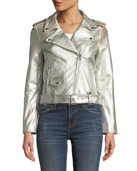 The Shaina Metallic Leather Biker Jacket