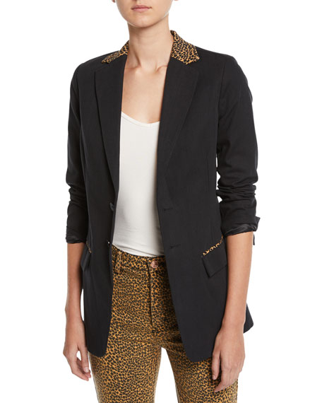 The Calla Cotton-Wool Blazer With Leopard-Print Trim, Black