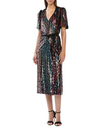 d939d9aec02 Short-Sleeve Multicolor Sequin Wrap Dress Quick Look. ML Monique Lhuillier