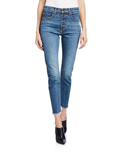 Faye High-Rise Button-Fly Skinny Jeans w/ Frayed Hem