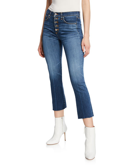 Carolyn Cropped High-Rise Jeans With Button Fly in Denim