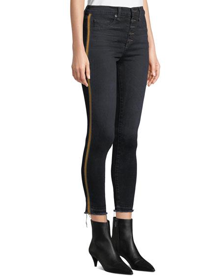 "Debbie 10"" Rise Skinny Jeans with Tuxedo Stripes"