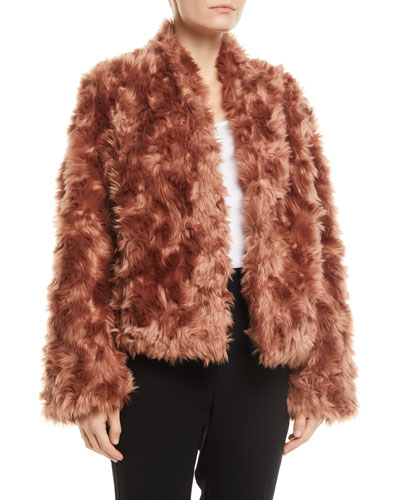 Plush Faux-Fur Cropped Jacket