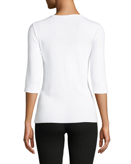 Elbow-Sleeve Jersey Crewneck Top