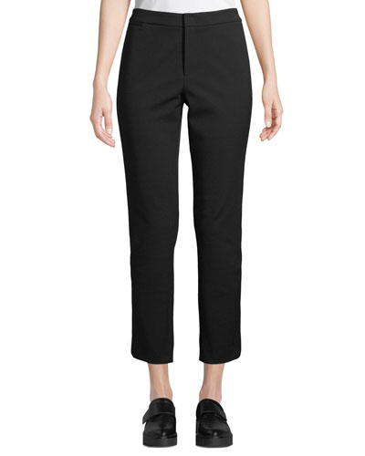Side-Strap Straight-Leg Cropped Trousers