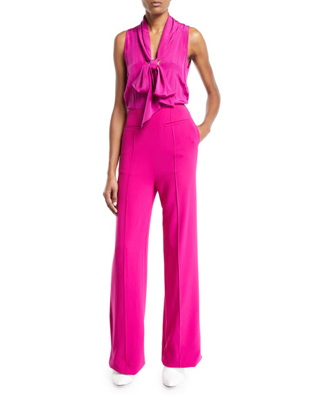 Image 1 of 1: Virginie Crepe Open-Back Tie-Neck Sleeveless Jumpsuit