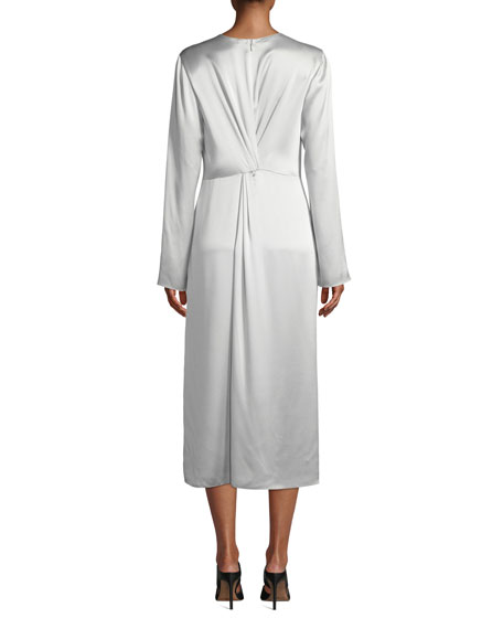 Twist-Front Long-Sleeve Silk Midi Dress