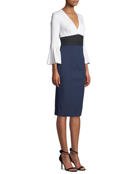 79b07fa253dd4 Diane von Furstenberg Lauren Colorblock Bell-Sleeve Midi Dress