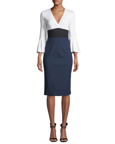 Lauren Colorblock Bell-Sleeve Midi Dress