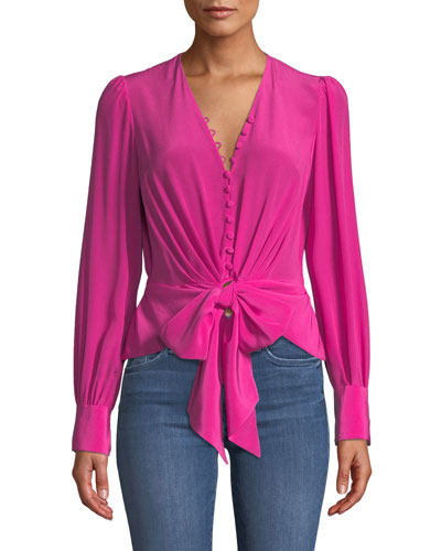 Julianna Tie-Front Silk Button-Down Top