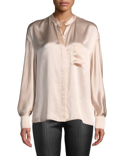 Silk Single-Pocket Long-Sleeve Blouse
