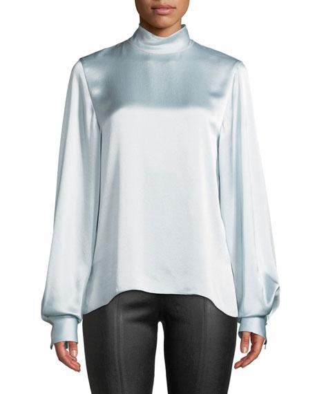 Silk Turtleneck Blouson-Sleeve Top