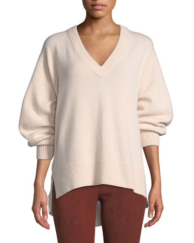 V-Neck Cashmere Tunic Sweater