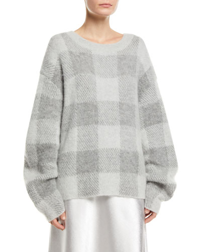Plaid Crewneck Mohair-Blend Pullover Sweater