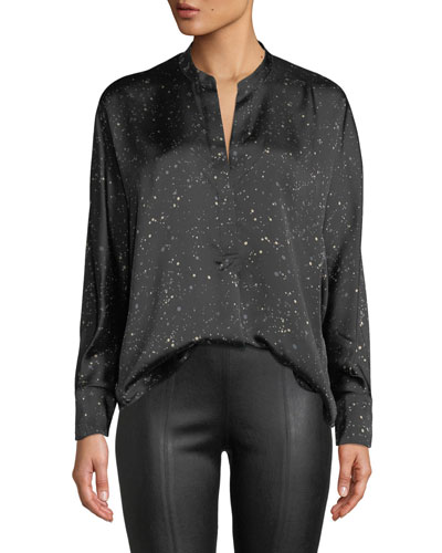 Constellation-Print Satin Popover Blouse