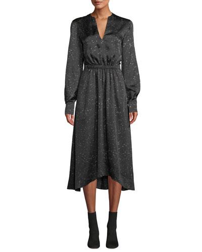 Constellation-Print Satin V-Neck Long-Sleeve Dress