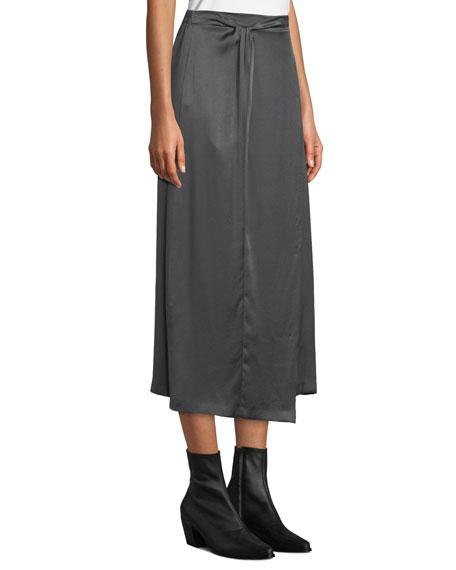 Paneled Knot-Front Silk Midi Skirt