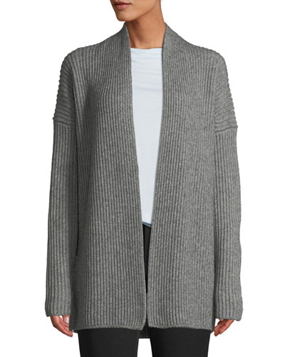 Ribbed Open-Front Yak-Wool Cardigan