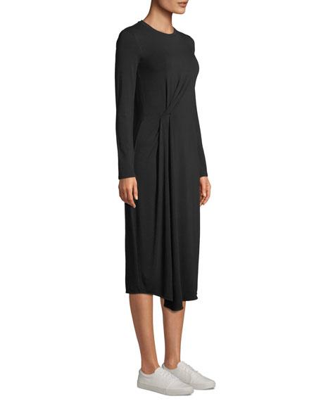 Long-Sleeve Side-Drape Jersey Midi Dress
