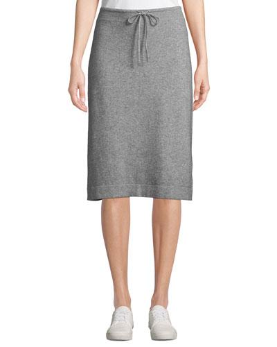 Wool-Cashmere Drawstring Sweater Skirt
