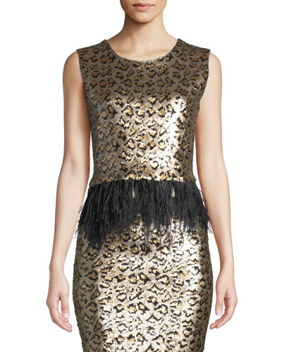 Liza Fitted Cropped Sequin Top with Ostrich Feathers