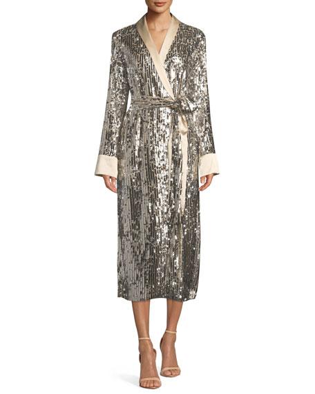 Le Superbe Sunset Boulevard Sequin Open-Front Robe Dress