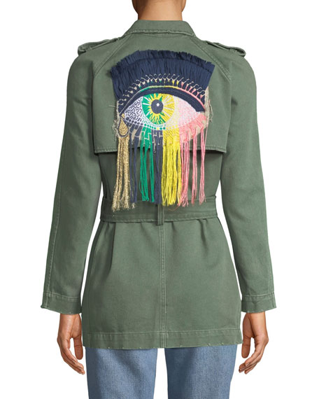 Eye C U Embroidered Double-Breasted Trench Coat