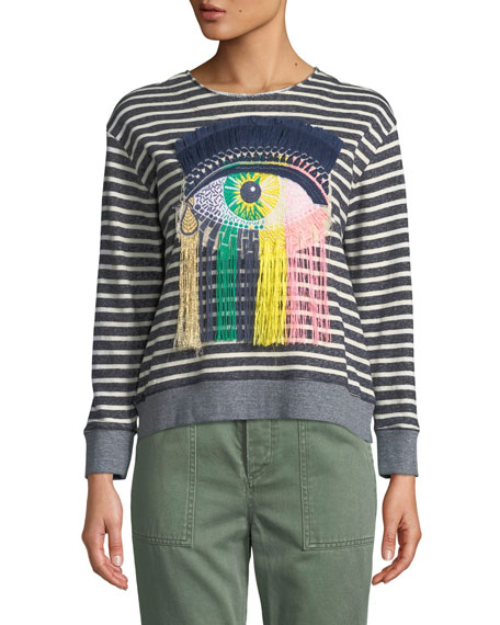 Le Superbe Eye C U Striped Embroidered Sweatshirt