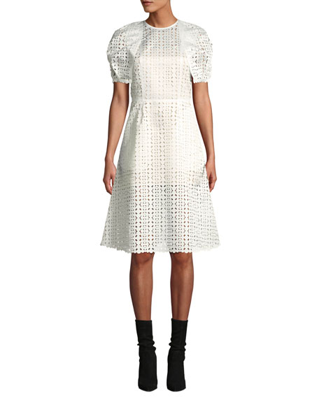 Paskal LASER-CUT SHORT-SLEEVE COCKTAIL DRESS