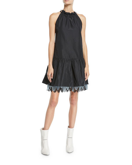 Paskal SLEEVELESS TIE-NECK MINI DRESS W/ LAYERED SKIRT