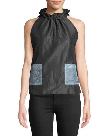 Paskal SLEEVELESS TIE-NECK A-LINE POCKET BLOUSE