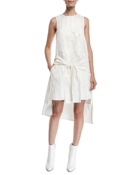Paskal LAYERED TIE-FRONT SLEEVELESS HIGH-LOW SHIFT DRESS