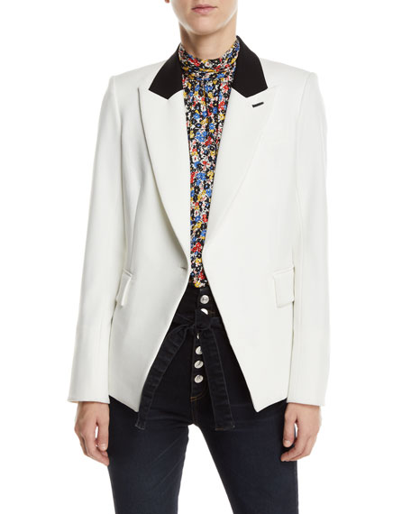Fergus Single-Button Dickey Jacket With Chains, Off White