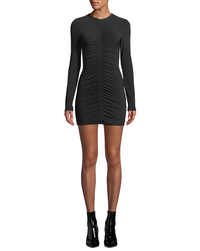 Crepe Jersey Long-Sleeve Dress with Ruching