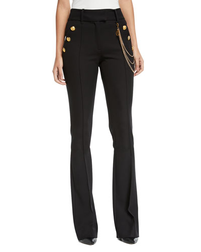 Alair High-Rise Boot-Cut Trousers with Chain Details