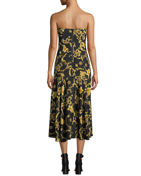 Annika Printed Silk Strapless Midi Dress